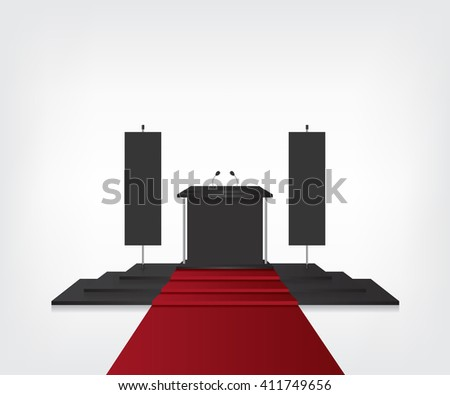 Podium with red carpet for award ceremony and flag black - stock photo