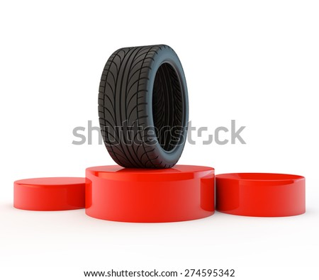 podium with the tire - the champion, the winner in the category - stock photo