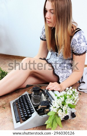 Poetry reading or Beautiful woman, Romantic background - stock photo