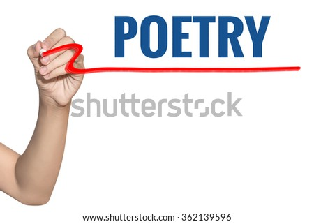 Poetry word write on white background by woman hand holding highlighter pen - stock photo