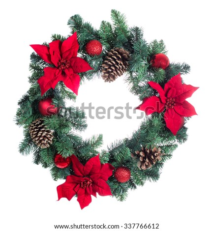 Poinsettia flower Christmas wreath isolated on white background.  - stock photo