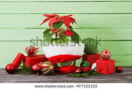 poinsettia in flowerpot with gifts on wooden table