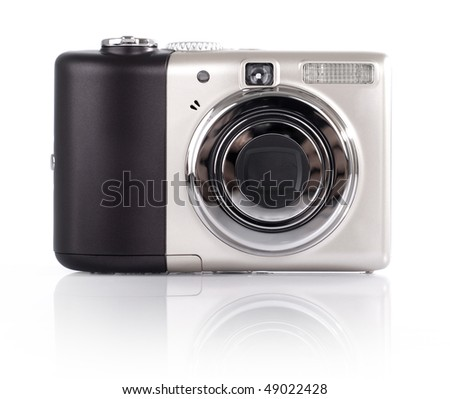 Point and shoot camera isolated on white background.