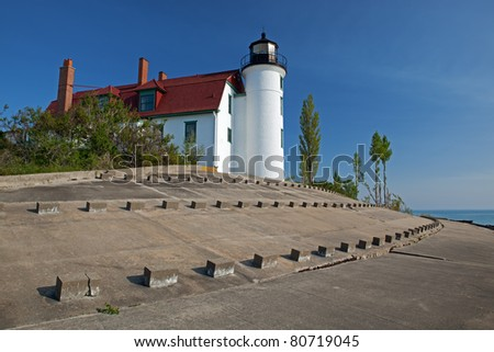 Point Betsie Lighthouse, Lake Michigan, Michigan, USA - stock photo