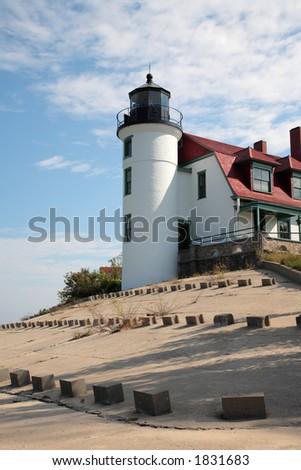 Point Betsie Lighthouse Tower, Lake Michigan - stock photo