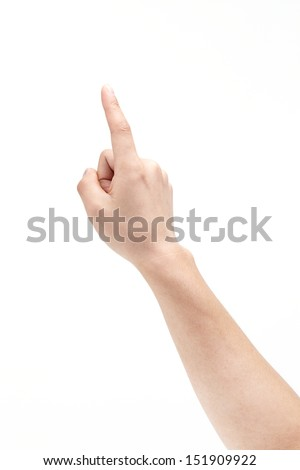 point finger, isolated on a white background  - stock photo