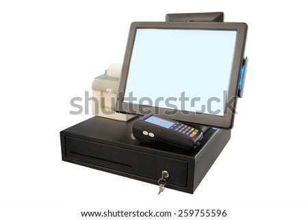 Point of sale touch screen system with thermal printer and cash drawer - stock photo