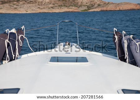 Point of view driving the boat - stock photo