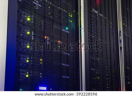 point of view modern mainframe disk storage in the data center - stock photo