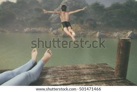 Point of view of a woman looking at a man jumping from the pontoon to the lake . This is a 3d render illustration.