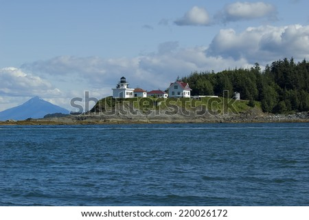 Point Retreat Lighthouse Near Juneau, Alaska - stock photo