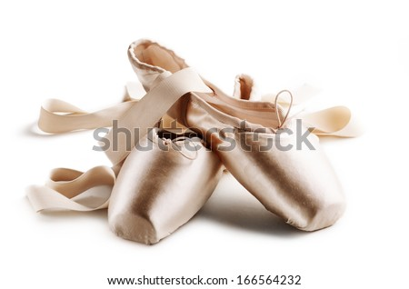 Pointe shoes isolated over white background - stock photo