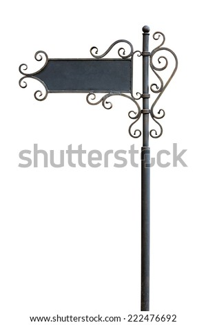 Pointer direction on street pole. Isolated on white - stock photo