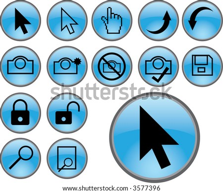 pointer icons blue (4 of 5) - stock photo
