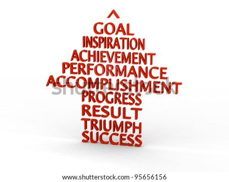 Pointer made of success related words - stock photo