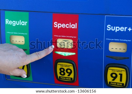 pointing at high gas price - stock photo