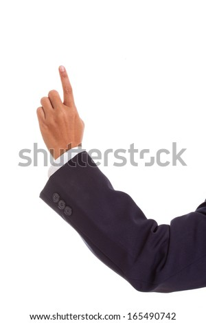 pointing businessman hand, isolated on white  - stock photo