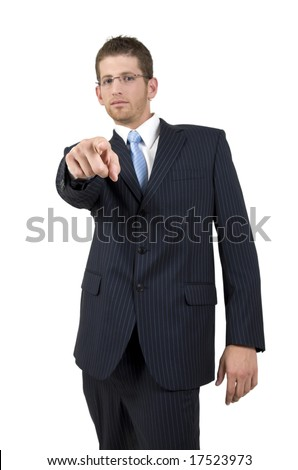 pointing businessman on isolated background