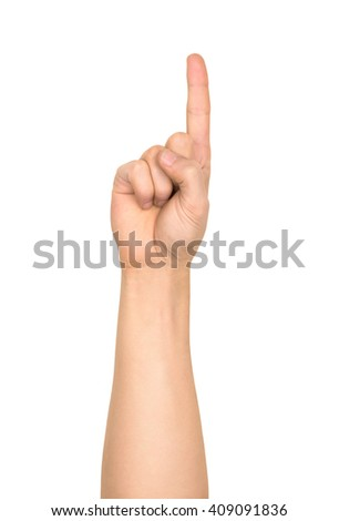 pointing hand gesture on an isolated white background - stock photo