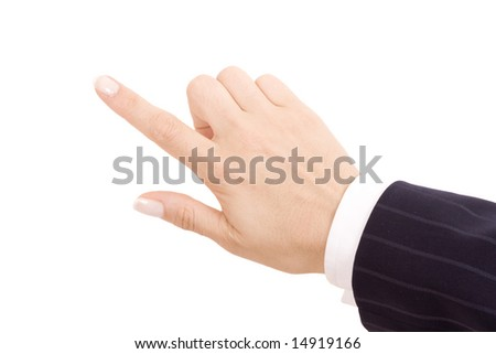 pointing hand, isolated on white background - stock photo