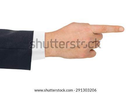 Pointing hand - isolated on white background - stock photo