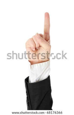Pointing hand isolated on white background - stock photo
