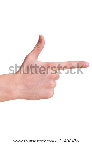 Pointing hand (or shooting or aiming) isolated on a white background - stock photo