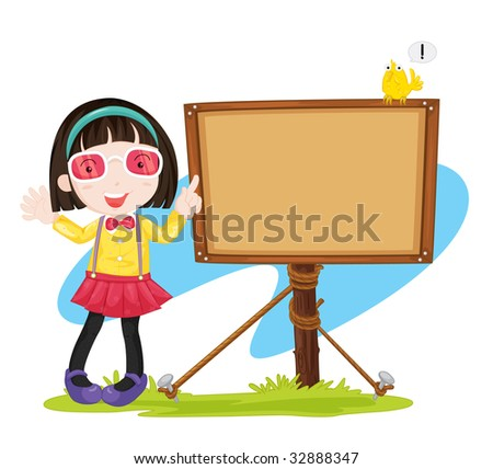 pointing to sign (vector available in portfolio)