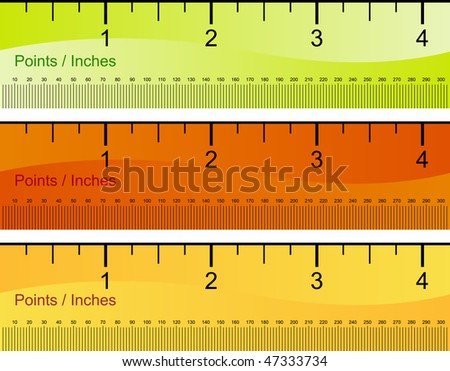 Points and inch ruler set isolated on a white background.