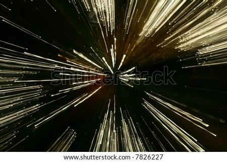 Points of light from optical fibre on a long exposure - stock photo