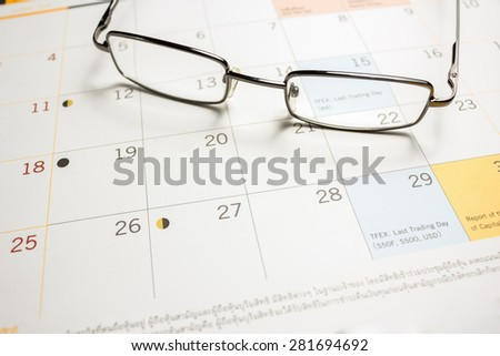 Points on the calendar pages. Points of focus. - stock photo
