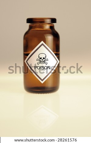 Poison bottle on a white table with reflection - stock photo