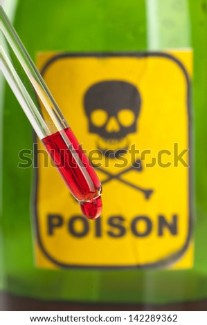 Poison bottle with label and blood - stock photo