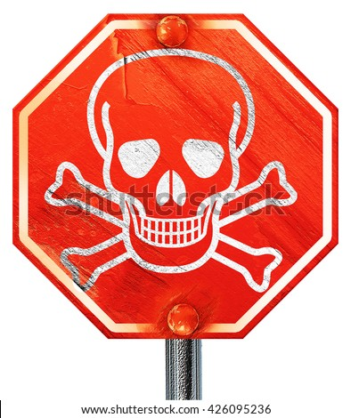 Poison sign background, 3D rendering, a red stop sign - stock photo
