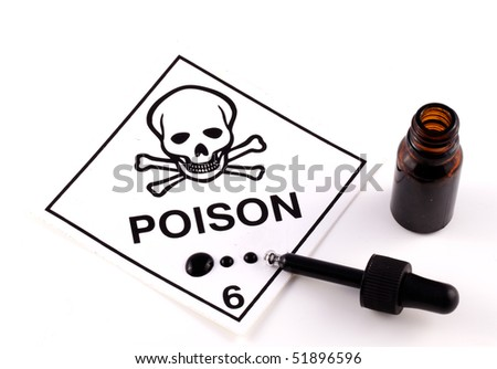 Poison With Eyedropper and black liquid on white background - stock photo