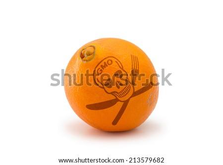 Poisonous GMO orange isolated on white background - stock photo