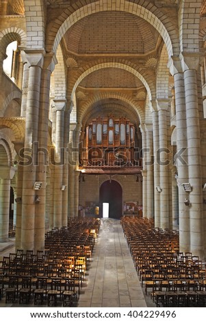 POITIERS, FRANCE - AUGUST 3, 2010: Eglise Saint-Hilaire-Grand, Vienne, region Poitou-Charentes. UNESCO - the Pilgrim's Road to Santiago de Compostela