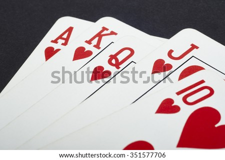 Poker card game with heart straight flush. Red. Vertical - stock photo