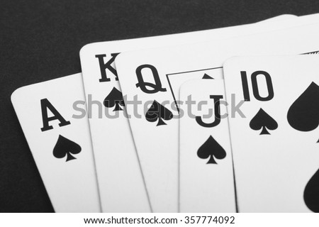 Poker card game with spade straight flush. Black. Horizontal - stock photo