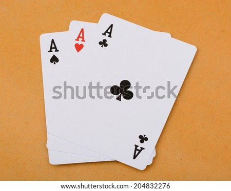 Poker card Three of a kind ace - stock photo