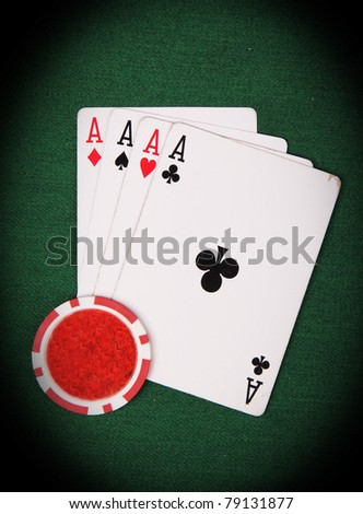 Poker cards 4 aces - stock photo