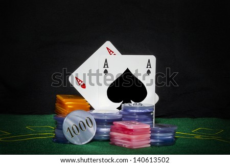 poker cards and chips - stock photo