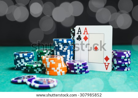 Poker. Cards and chips