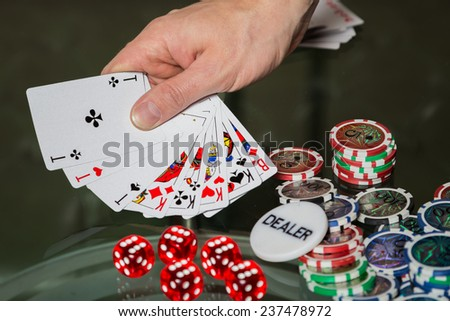 Poker cards and chips on the table. Card game, poker game. Casino games, card games, cards. The concept of the game in the gambling.