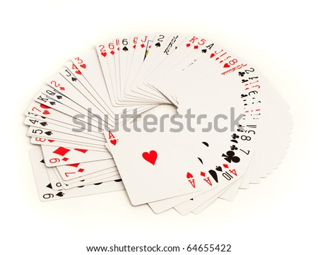 poker cards isolated on a white background - stock photo