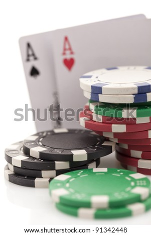 Poker cards on white background - stock photo