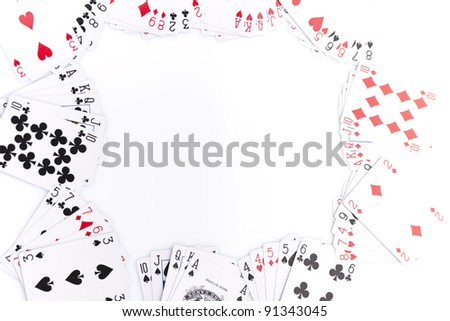 Poker cards on white background. - stock photo