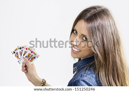 Poker cards with a smiling girl