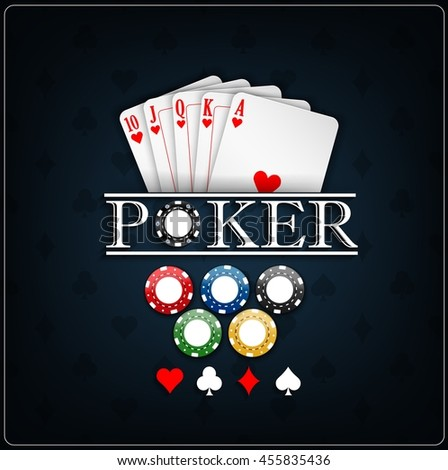 Poker cards with casino chips on a blue background