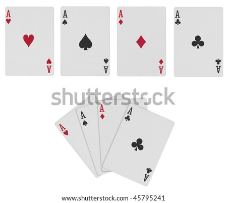 Poker Cards with Path - stock photo